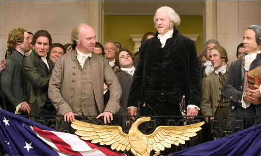 I hear they're going to name a city after you. No, not Adams, that tall fellow taking the oath of office.